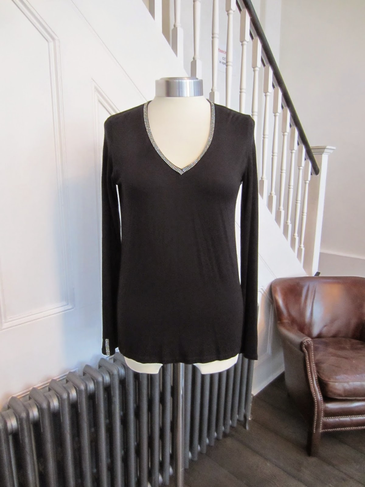Joseph Black Top with Diamante Trim