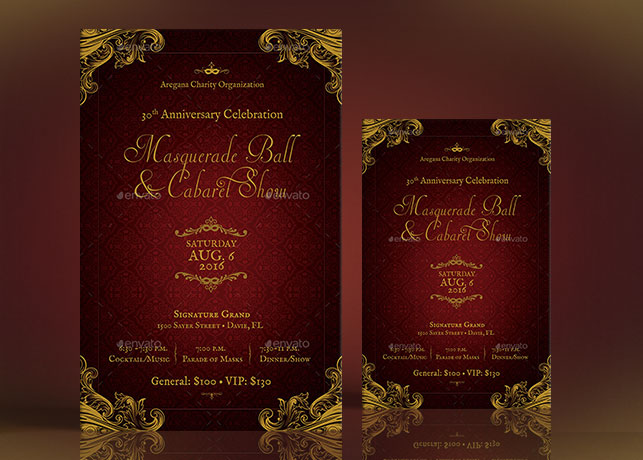 masquerade ball flyer poster template graphicmule