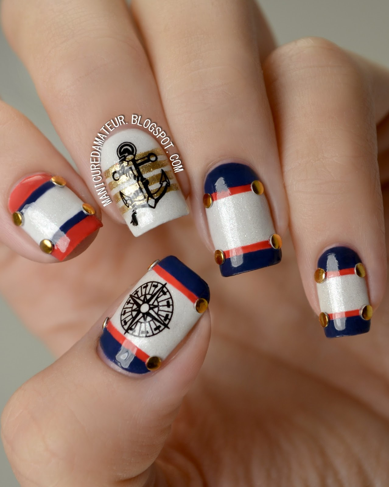 The Manicured Amateur: Nautical Nail Art featuring Born Pretty Store ...