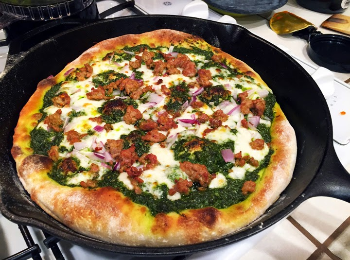 Wishful thinking: Cooking Light's sausage and kale pesto pizza