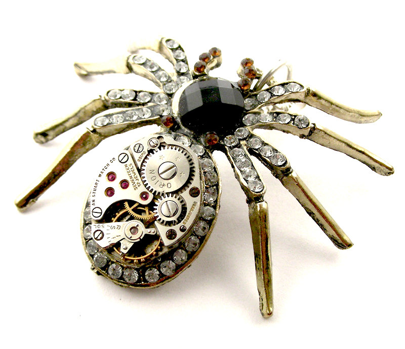 17-Rustic-Spider-Pendant-Nicholas-Hrabowski-Steampunk-Jewelry-from-Recycled-Watches-and-Bullets-www-designstack-co