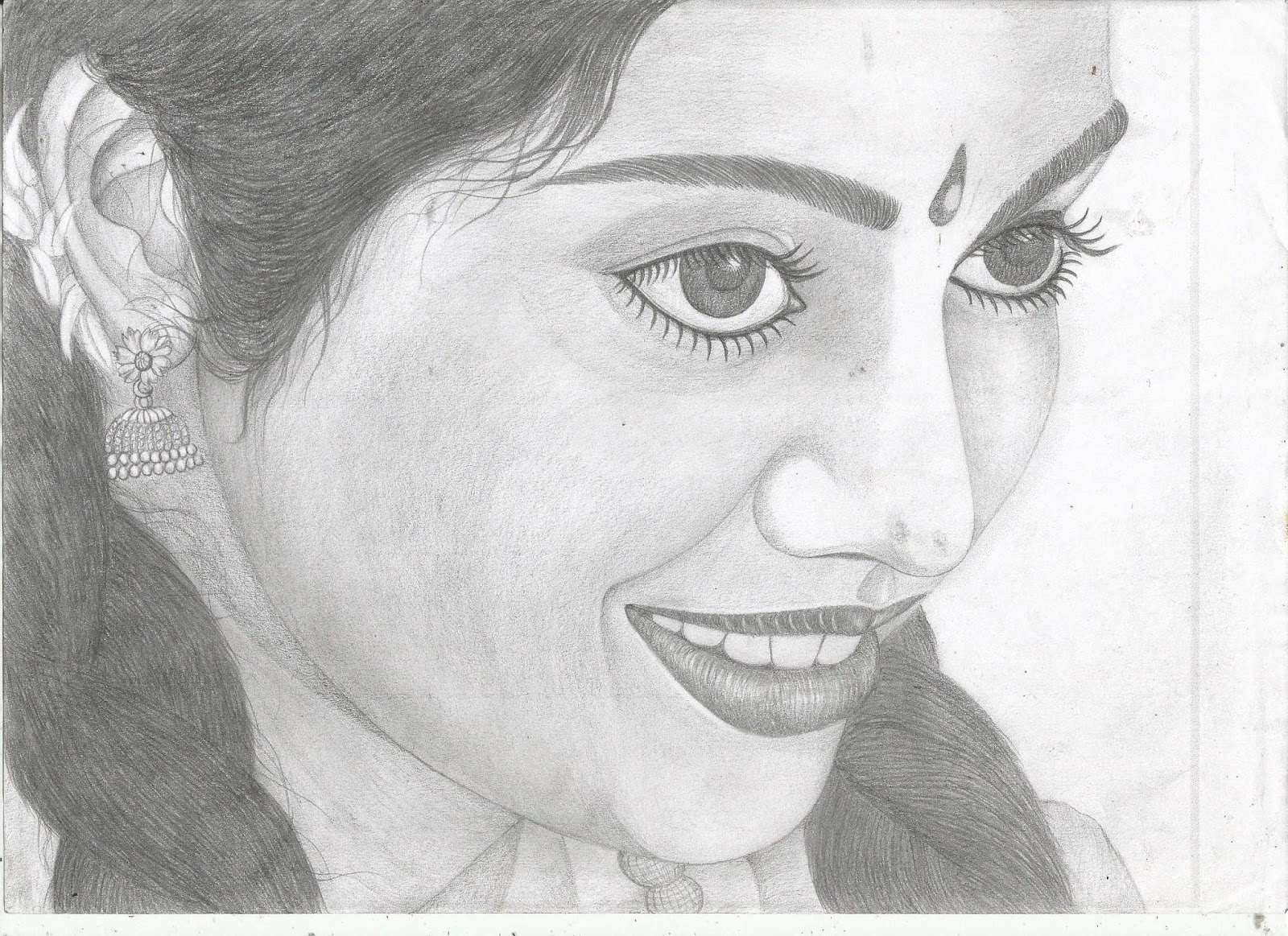 Meena actress pencil sketch