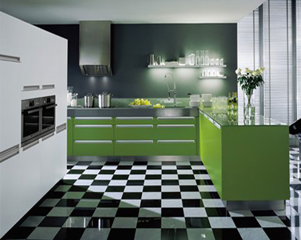 Kitchen designs 2013 hd wallpapers for Green and white kitchen designs
