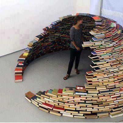 shelter made with books