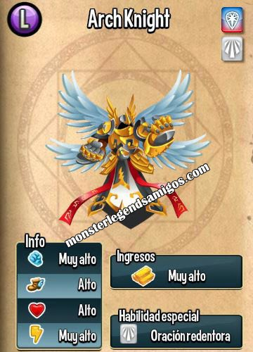 imagen de la caracteristicas del arch knight de monster legends