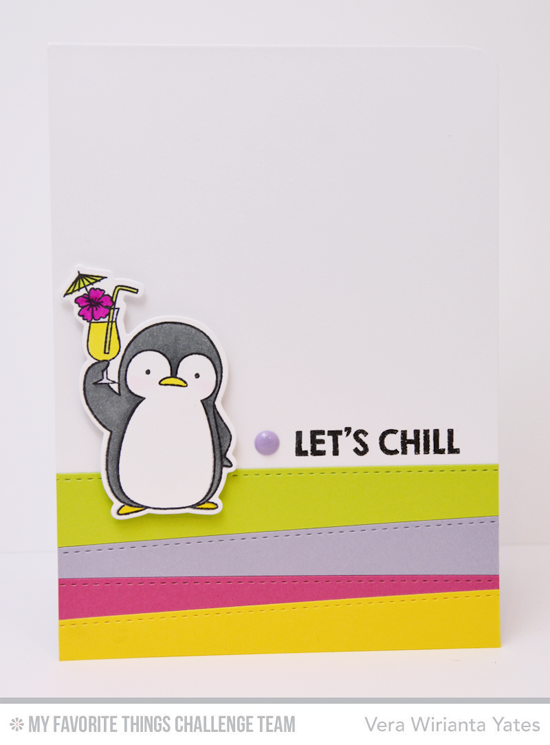 Chilly Penguin Card by Vera Wirianta Yates featuring the Birdie Brown Penguins in Paradise stamp set and Die-namics and the Stitched Basic Edges Die-namics #mftstamps