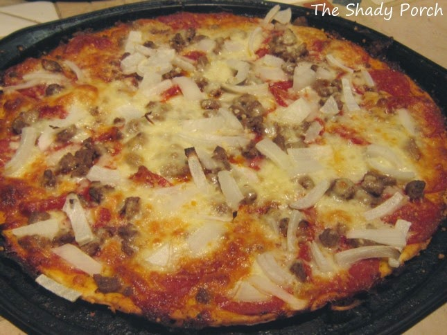 Bake the pizza 8-15 minutes depending on the crust you have chosen.