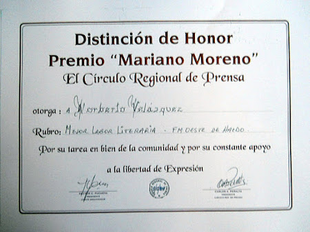DISTINCIÓN DE HONOR - 2011