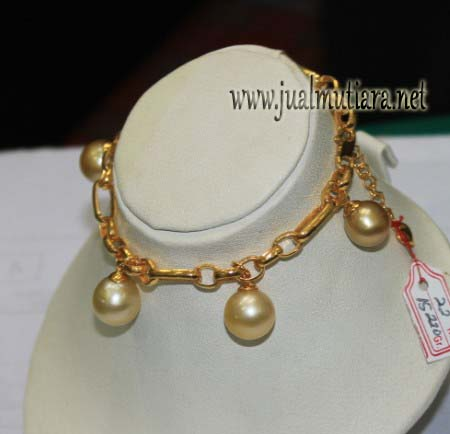Gelang Emas Mutiara Air Laut Warna Gold Model Rombe - Kode GML017