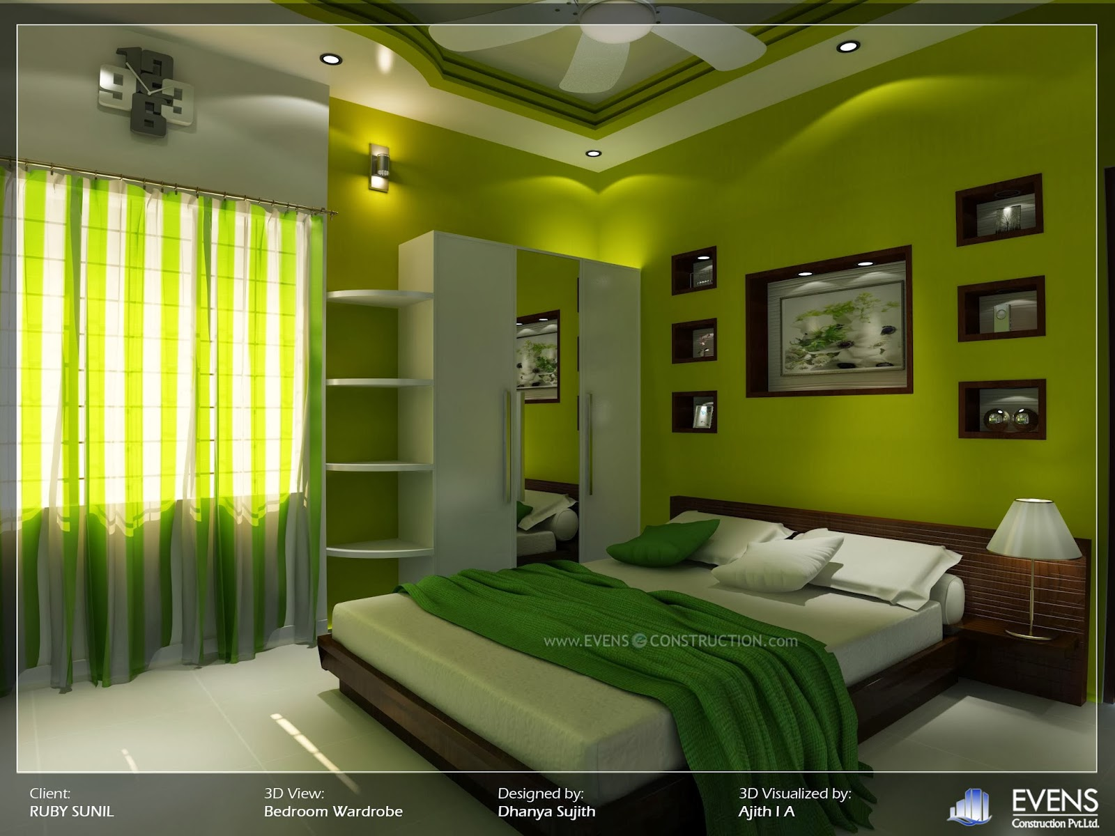 Evens Construction Pvt Ltd Bedroom With Yellow Green Walls