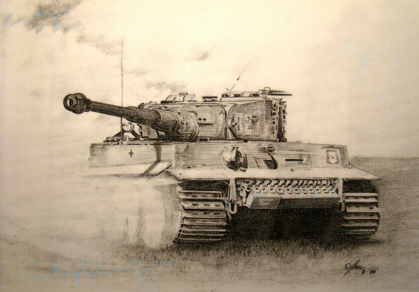 how to draw a ww2 tank