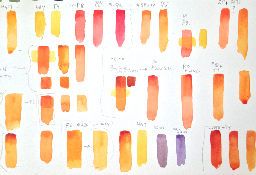 Orange mixing colour chart