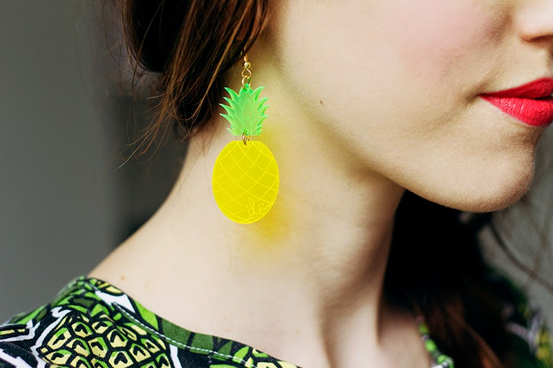 fashion blogger pineapple earrings