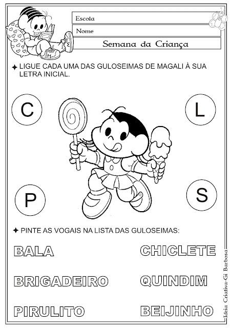 Atividade Dia das Crianças Guloseimas da Magali