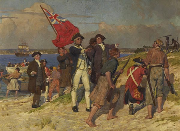 Landing of Captain Cook at Botany Bay, 1770 by E. Phillips Fox, 1902