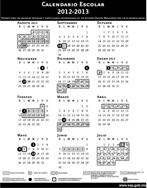 Calendario Escolar del ciclo 2012-2013