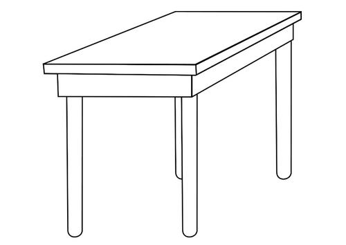 Mesa en blanco y negro para colorear