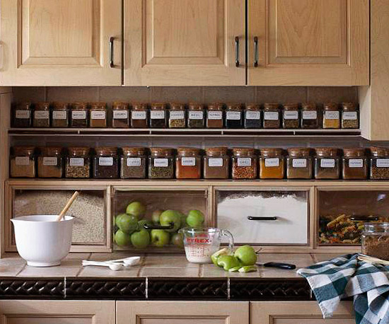 Organized spices under the cabinet on a shelf :: OrganizingMadeFun.com