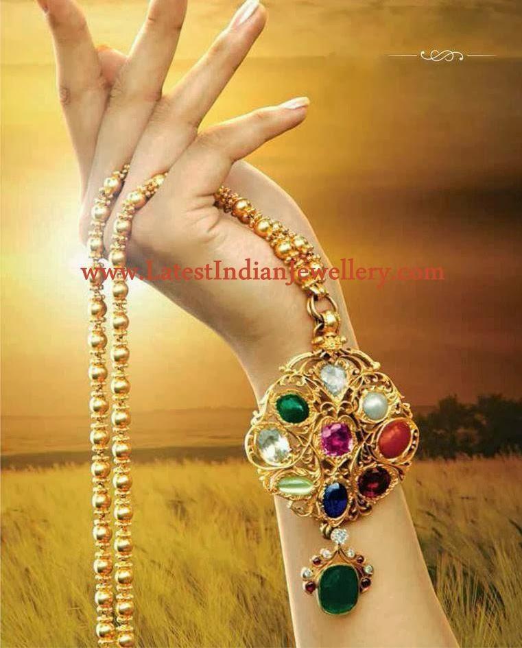 Bhima Jewellery Bands: Navaratna Gold Pendant