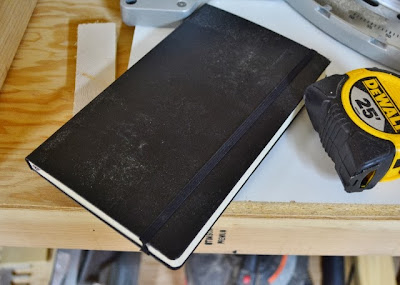 Moleskine Notebook on work bench