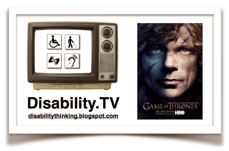 Disability.TV logo on the left, game of thrones poster on right with face of Tyrion Lannister