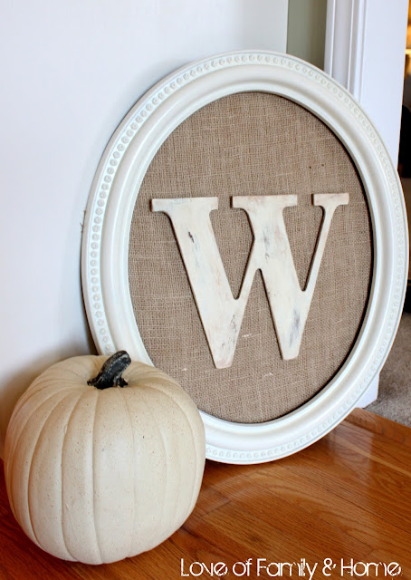 Such a cool art project check it out Burlap Monogram Perfection