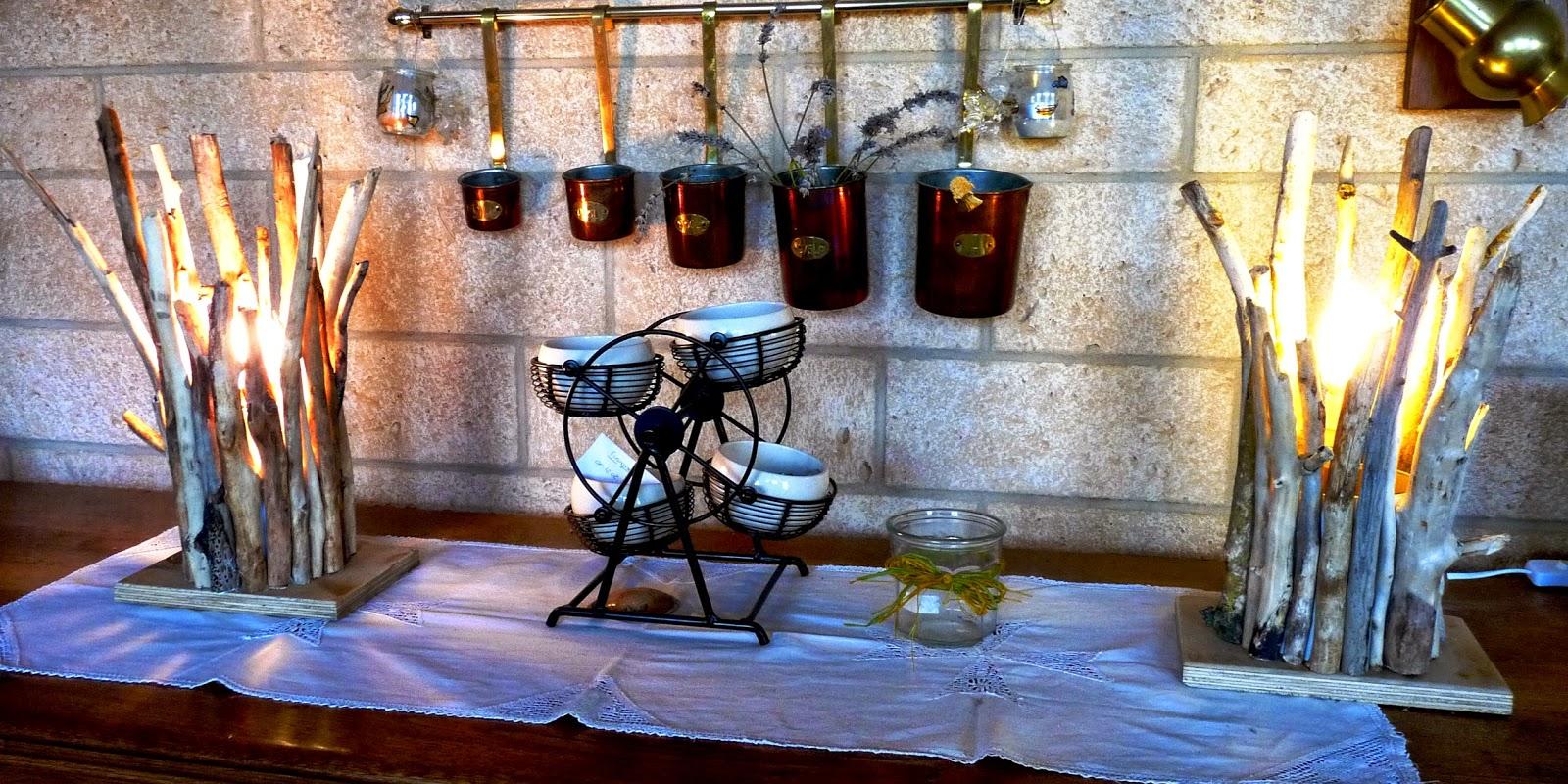 R cup cr ations par jo l et marie jo duo de lampes en - Que faire avec du bois flotte ...