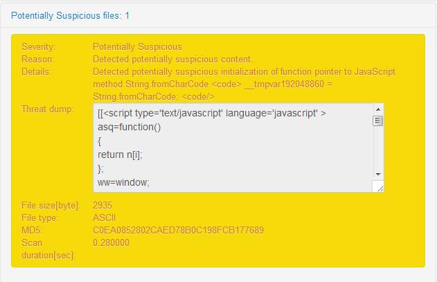 Quttera website malware scanner. Malicious JavaScript detected on scanned website