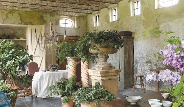 Orangerie, restoration and design by Brigitte and Alain Garnier, Garnier Antiques and Architectural Interiors, image via the Garnier (be) website Vivre Country feature as seen on linenandlavender.net
