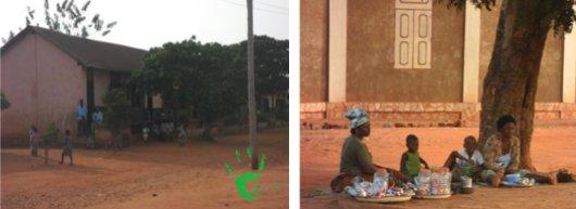 Venditori di dolci fuori dalla scuola di Noepé, Togo, Africa