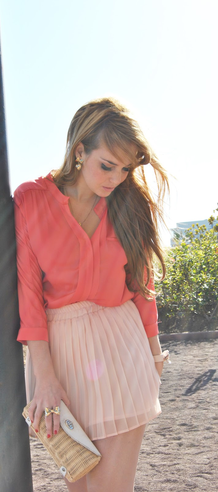 nery hdez, spring look, coral look, coral and pink , pretty ballerinas