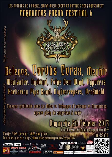 Cernunnos Pagan Festival 6 @ La Machine du Moulin Rouge, Paris 24/02/2013