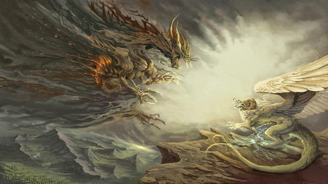 грифон дракон битва