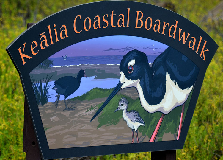 Kealia Coastal Boardwalk sign
