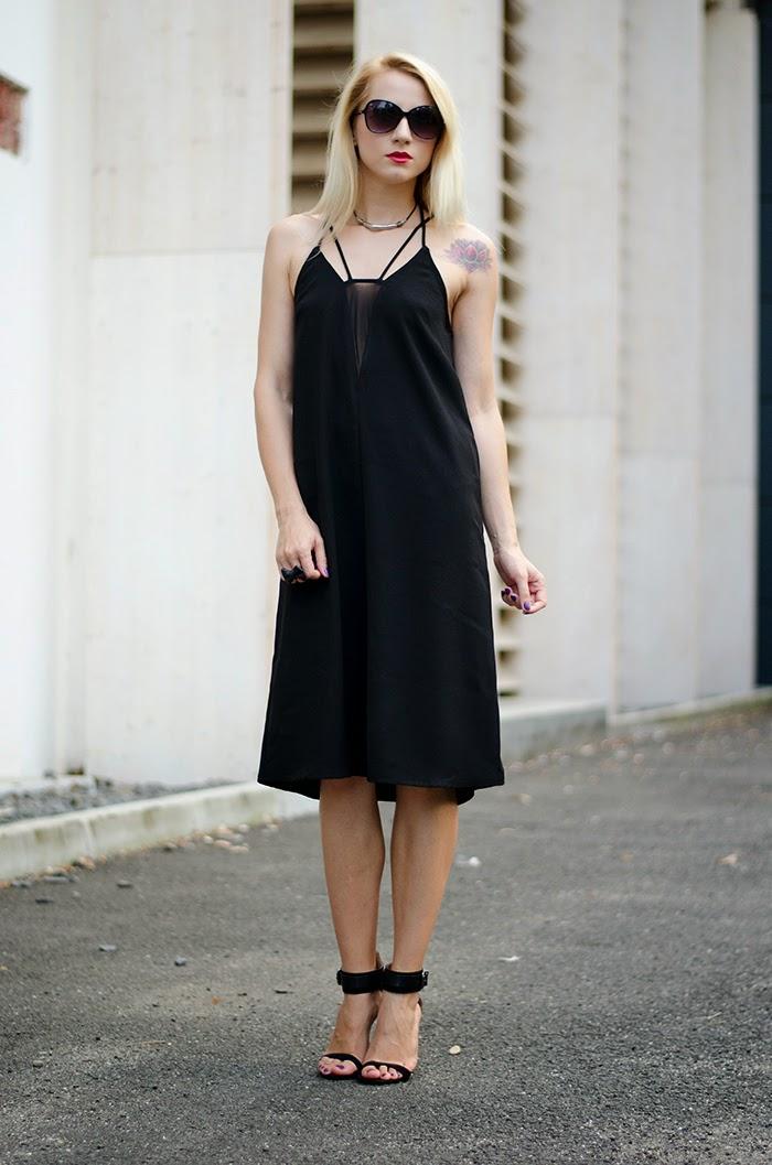 LBD H&M dress sheer panel Zara black sandals lotus tattoo