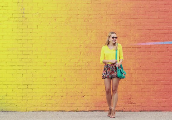 The Steele Maiden: Neon Sweater and Printed Shorts