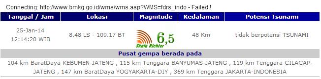 Gempa Bumi Guncang Kebumen dengan Kekuatan 6,5 SR (Getaran dirasakan juga di beberapa daerah)