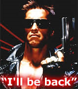 "Yes, it's Arnie.  And he's saying ""I'll be back!"""