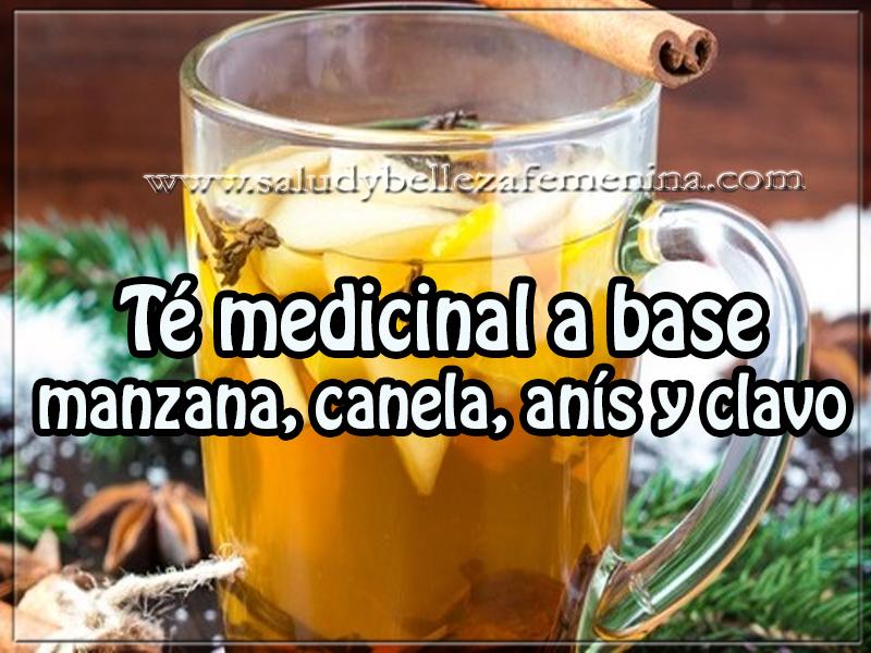 Bebidas saludables , té medicinal a base  manzana, canela, anís y clavo