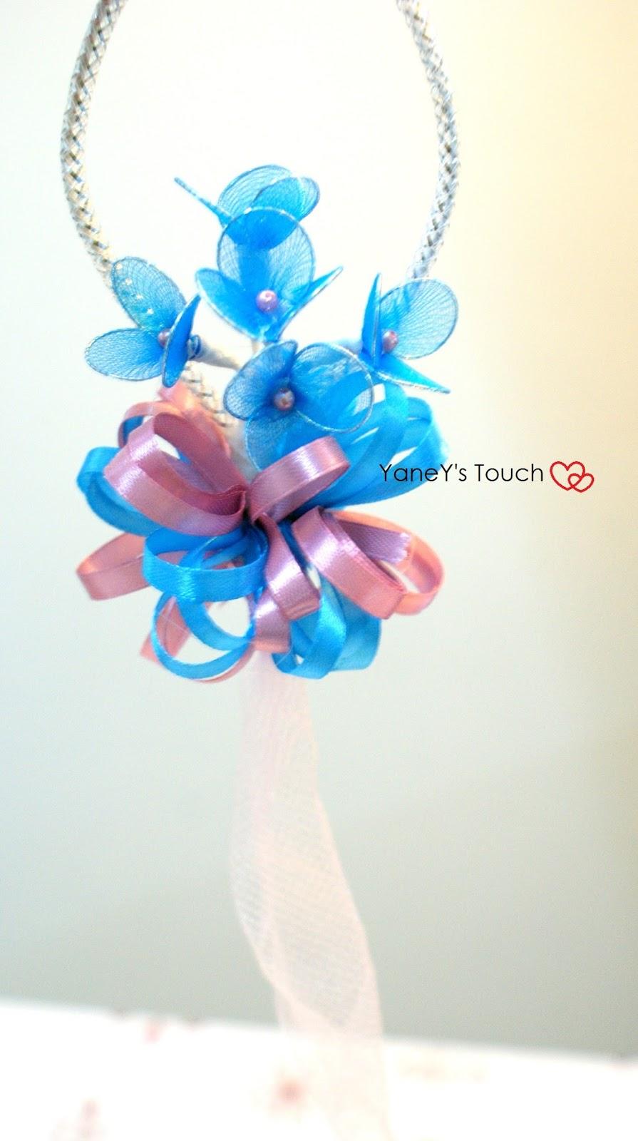 bunga telur stokin gantung: tema turqoise + pink: 5 kuntum (3 kelopak)