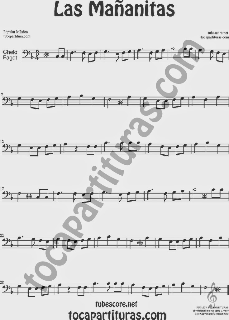 Las Mañanitas Partitura de Violonchelo y Fagot Sheet Music for Cello and Bassoon Music Scores