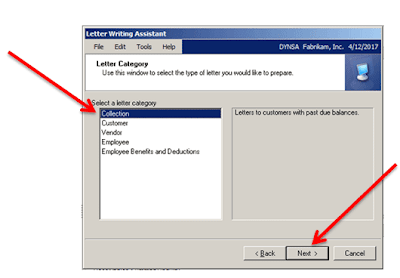 Select Letter Catagory in Dynamics GP