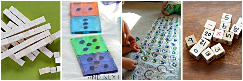DIY math manipulatives and homemade math toys for kids from And Next Comes L