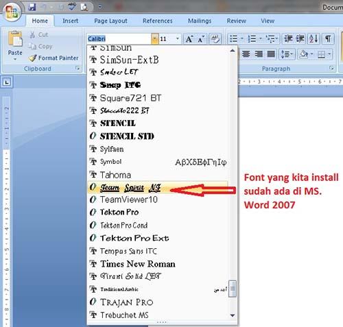Tutorial MS. Office 2007 Bagian 5 : Menambah Jenis Font