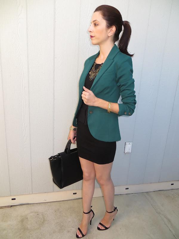 4294acd0bbd240 Blazer - H&M (Similar one here) ; Dress - Zara (Similar one here or here )  ; Shoes - Zara (Similar one here) ; Purse - Zara (Similar one here) ;  Necklace ...