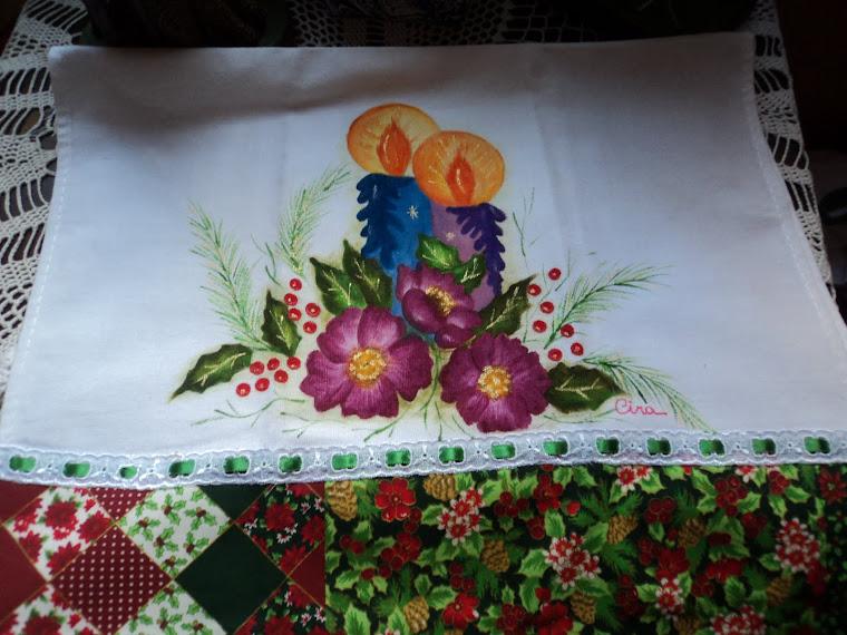 Pintura em Panos de Prato, acabamentos em barra de tecido de algodão