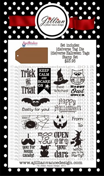 die-verse Halloween Tags stamp and die set