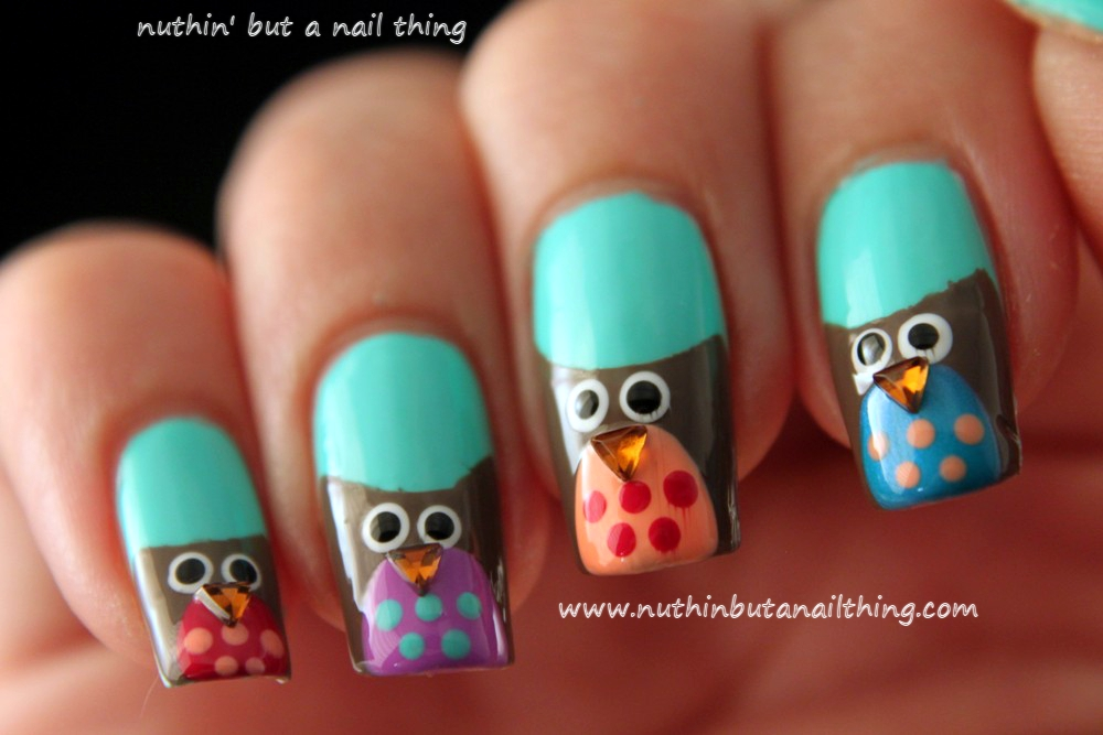 nuthin\' but a nail thing: Owl Nail Art Tutorial