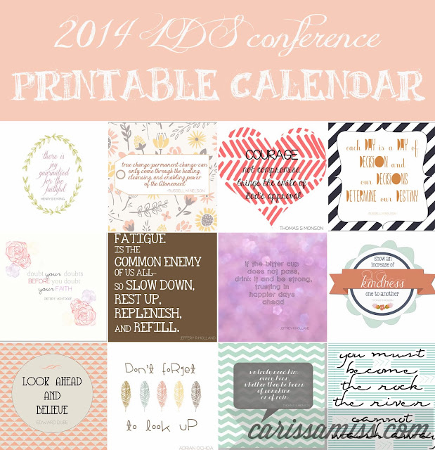 Carissa Miss: 2014 Conference Calendar #ldsconf #freeprintable