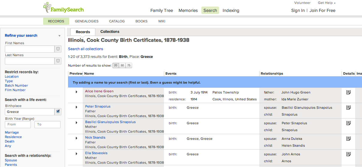 1878-1938 - illinois, cook county birth certificates -- 3,373